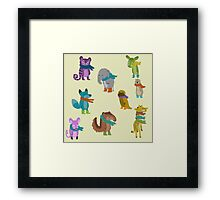 sad and indifferent animals wearing scarves Framed Print