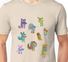 sad and indifferent animals wearing scarves Unisex T-Shirt