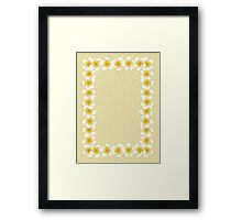 White frangipani flowers frame on sand Framed Print