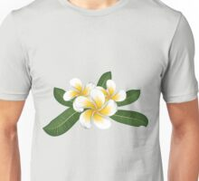 White plumeria with leaves Unisex T-Shirt