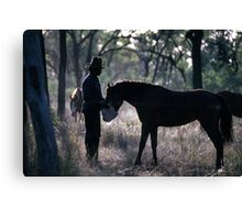 A MAN AND HIS HORSE Canvas Print