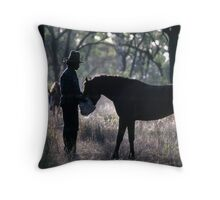 A MAN AND HIS HORSE Throw Pillow