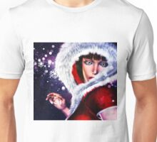Winter girl in red outfit 2 Unisex T-Shirt