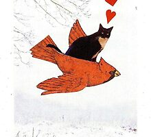 Cardinal + Cat by TheTimidArtist