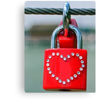 Pad lock Heart Canvas Print