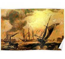Portsmouth Harbour circa early 19th century and a Melee of Coal and Wind Driven Ships Poster