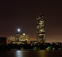 Boston skyline at night by ouellettep
