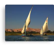Fishing on Nile Canvas Print