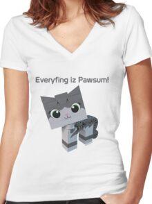 Brick Boris Kitty Women's Fitted V-Neck T-Shirt