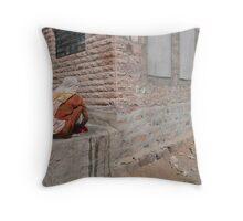 Laundry Day in Jodhpur Throw Pillow