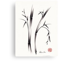 """Morning""  sumi-e brush pen bamboo drawing/painting Canvas Print"