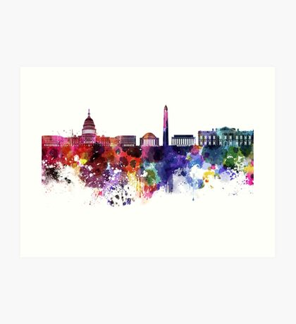 Washington DC skyline in watercolor on white background  Art Print