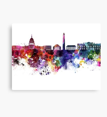 Washington DC skyline in watercolor on white background  Canvas Print