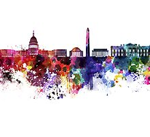 Washington DC skyline in watercolor on white background  Photographic Print