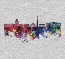 Washington DC skyline in watercolor on white background  Kids Clothes