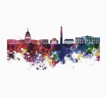 Washington DC skyline in watercolor on white background  T-Shirt