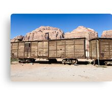 disused Hejaz Ottoman train in Jordan near Aqaba  Canvas Print