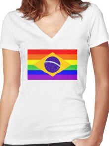 gay flag brazil Women's Fitted V-Neck T-Shirt