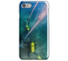 professional Scuba divers perform an underwater survey  iPhone Case/Skin