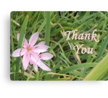 Pink Flower Thank You Canvas Print
