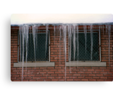 Icicles (2) - In Front of Windows Off Red Brick Bldg. Canvas Print
