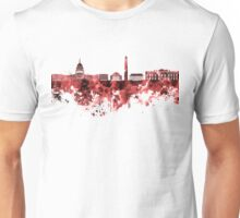 Washington DC skyline in watercolor on red background  Unisex T-Shirt