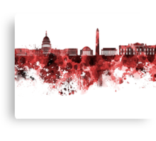 Washington DC skyline in watercolor on red background  Canvas Print