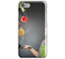Skillful cook lady throwing veggies iPhone Case/Skin