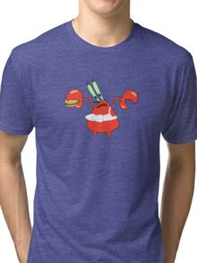 Mr. Krabs in a Bra Tri-blend T-Shirt