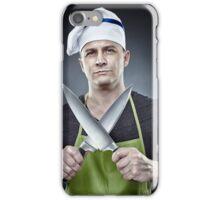 Menacing man cook holding two sharp knives iPhone Case/Skin