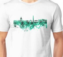 Washington DC skyline in green watercolor on white background  Unisex T-Shirt