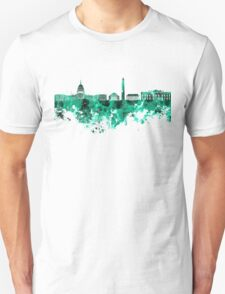 Washington DC skyline in green watercolor on white background  T-Shirt