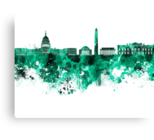 Washington DC skyline in green watercolor on white background  Canvas Print