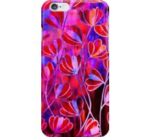EFFLORESCENCE Bold Hot Pink Red Blue Floral Garden Watercolor Painting Pattern Flowers Nature Fine Art Design iPhone Case/Skin