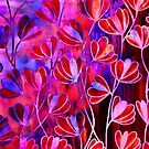 EFFLORESCENCE Bold Hot Pink Red Blue Floral Garden Watercolor Painting Pattern Flowers Nature Fine Art Design by EbiEmporium