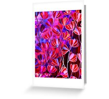 EFFLORESCENCE Bold Hot Pink Red Blue Floral Garden Watercolor Painting Pattern Flowers Nature Fine Art Design Greeting Card