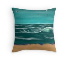 Winter Weather and Waves on the Beach Throw Pillow