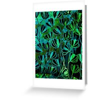 EFFLORESCENCE Bold Deep Emerald Green Turquoise Aqua Blue Floral Garden Watercolor Painting Pattern Flowers Nature Fine Art Design Greeting Card