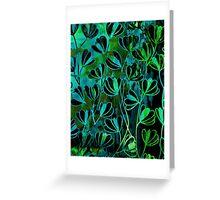 EFFLORESCENCE Bold Deep Emerald Green Turquoise Aqua Blue Floral Garden Watercolor Painting Pattern Flowers Nature Fine Art Design Greeting Card