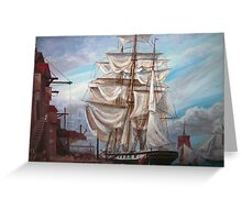 Drying Sails in Dock  Greeting Card