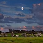 Moonrise Over Ballynoe Stone Circle by Derek Smyth