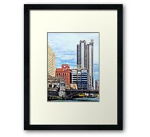 Chicago IL - Water Taxi Passing Under Lyric Opera Bridge Framed Print