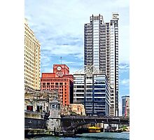 Chicago IL - Water Taxi Passing Under Lyric Opera Bridge Photographic Print