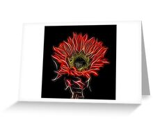 Neon Red Sunflower Greeting Card
