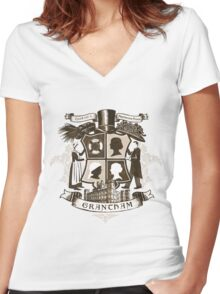 Grantham coat of arms (sepia) Women's Fitted V-Neck T-Shirt