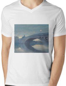 Reading Bridge at Night. Mens V-Neck T-Shirt