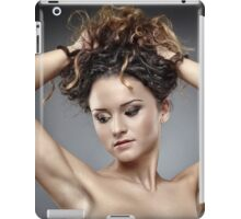 Beautiful glamour woman on gray background iPad Case/Skin