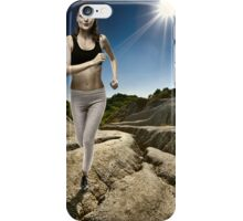 Athlete running with the sun behind iPhone Case/Skin