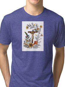Crucifix Dried Flowers Tri-blend T-Shirt