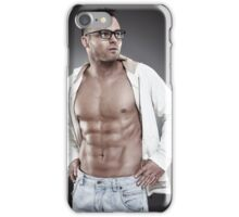 Fashionable sexy man wearing an unbuttoned shirt and eyeglasses iPhone Case/Skin